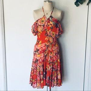 Boho floral lawn tiered/smocked Senorita dress